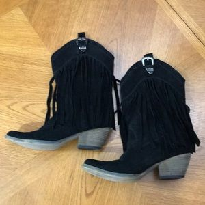 Black Suede Fringed Cowboy Boots